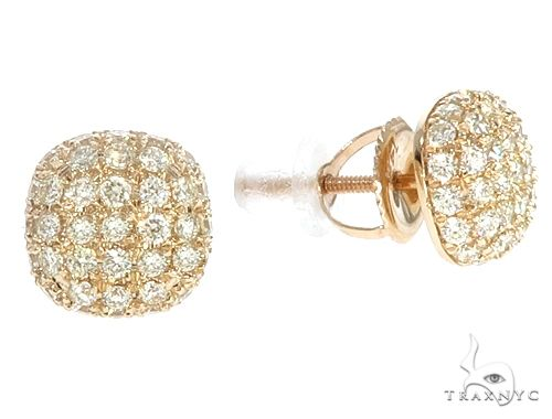 14k YG Diamond Cluster Stud Earrings 64839 Stone