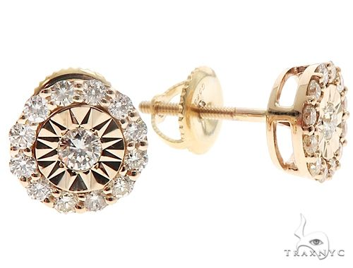 14k YG Diamond Stud Earrings 64822 Stone