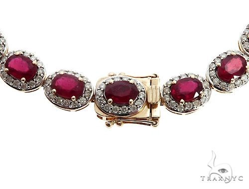 14k YG Ruby and Diamond Necklace 64745 Gemstone