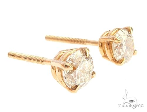 14k Yellow Gold Diamond Stud Earrings 65050 Stone