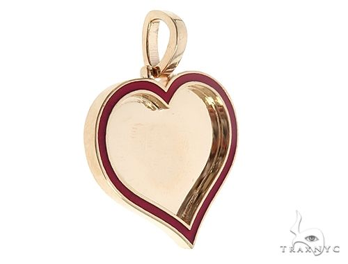 14k Yellow Gold 1 Inch Customizable Photo Heart Pendant 65043 Style
