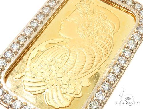 14k Yellow Gold 1 Ounce 1oz Pamp Bar Diamond Pendant 64917 Metal
