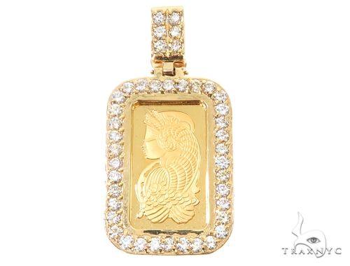 14k Yellow Gold 10 Gram Bar Diamond Pendant 64918 Metal