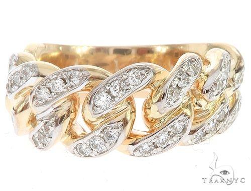 14k Yellow Gold 10mm Diamond Miami Cuban Ring 65017 Stone
