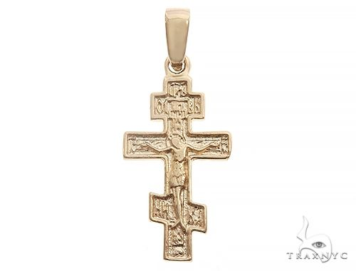 14k Yellow Gold Asymmetrical Cross Pendant 65096 Gold