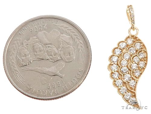 14k Yellow Gold Diamond Angel Wing Pendant 64668 Stone