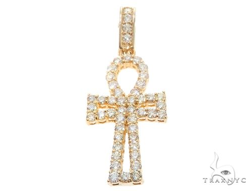 14k Yellow Gold Diamond Ankh Pendant 64926 Metal