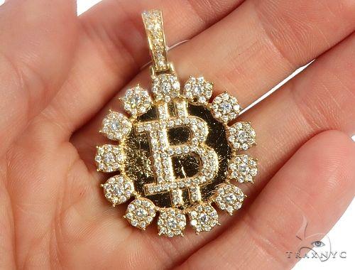 14k Yellow Gold Diamond 'B' Circular Initial Pendant 64709 Metal