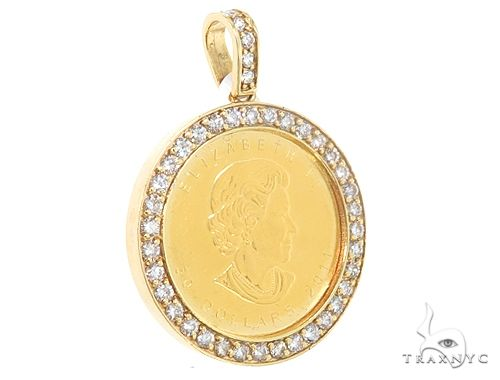 14k Yellow Gold Diamond Canadian Maple Leaf Coin Pendant 64921 Metal