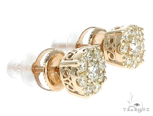 14k Gold Diamond Cluster Stud Earrings 64902 Stone