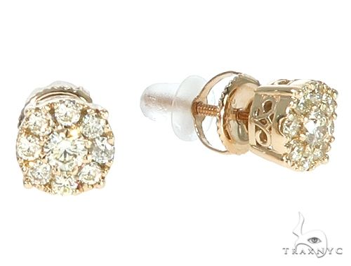 14k Yellow Gold Diamond Cluster Stud Earrings 64902 Stone