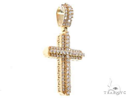 14k Yellow Gold Diamond Cross Pendant 64710 Metal