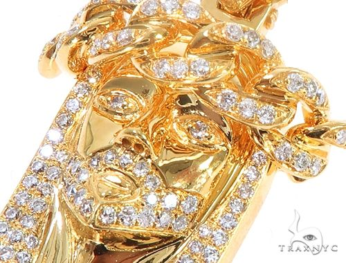 14k Yellow Gold Diamond Cuban Link Crown Jesus Pendant 64912 Metal