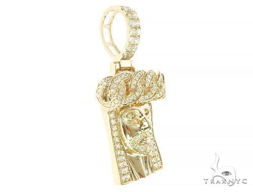 14k Gold Diamond Cuban Link Crown Jesus Pendant 65842 Style