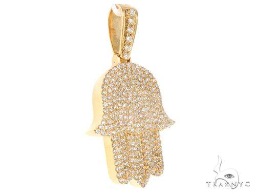 14k Yellow Gold Diamond Hamsa Pendant 64922 Metal