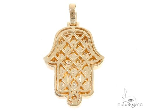 14k Yellow Gold Diamond Hamsa Pendant 64954 Metal