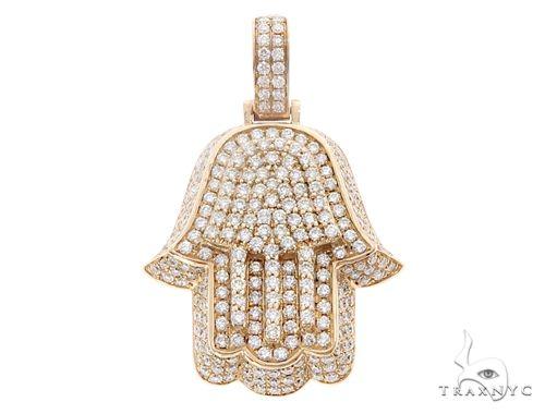 14k Yellow Gold Diamond Hamsa Pendant 64955 Metal
