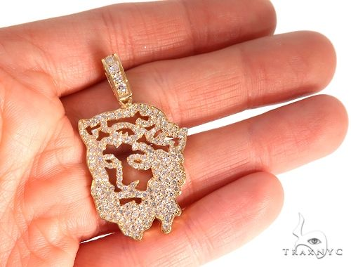 14k Yellow Gold Diamond Jesus Pendant 65134 Metal