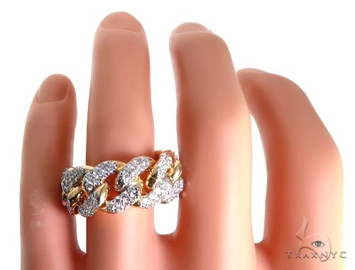 14k Yellow Gold Diamond Miami Cuban Ring 64775 Stone