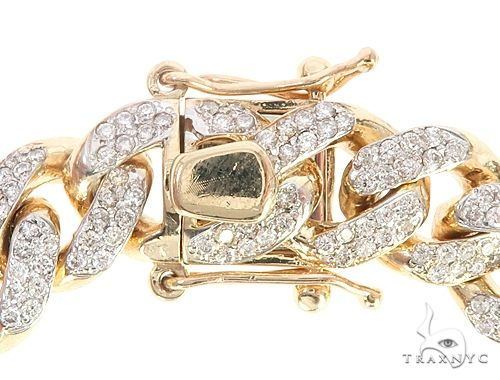 14k Yellow Gold Diamond Miami Link Bracelet 65093 Diamond