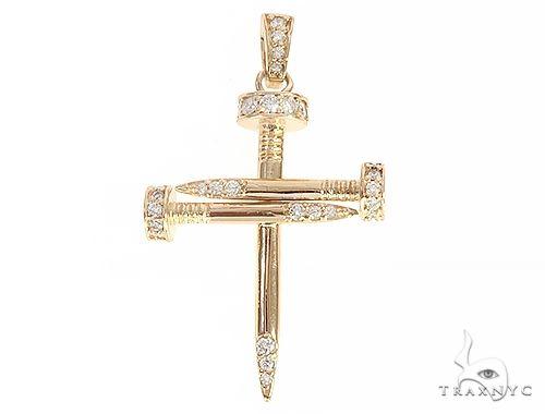 14k Yellow Gold Diamond Nail Cross Pendant Diamond