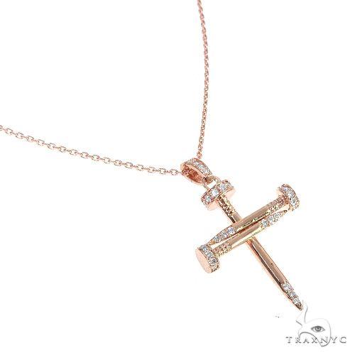 14k Yellow Gold Diamond Nail Cross Pendant Set 66614 Diamond