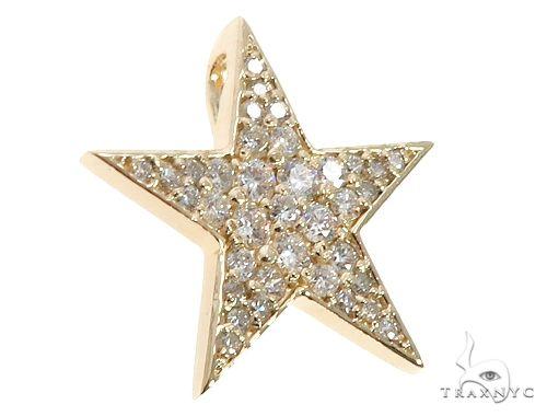 14k Yellow Gold Diamond Star Pendant 64650 Stone