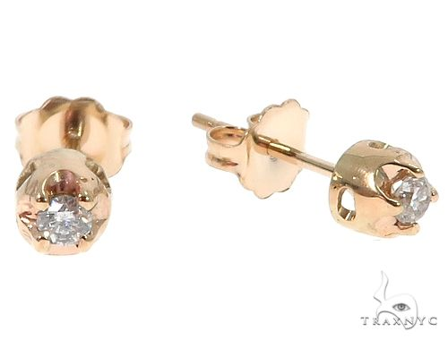14k Yellow Gold Diamond Stud Earrings 64674 Style