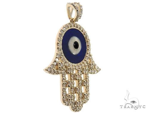14k Yellow Gold Diamond and Enamel Evil Eye Hamsa Pendant 64654 Stone