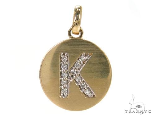 14k Yellow Gold Prong Diamond Initial K Pendant-39985 Style