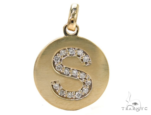 14k Yellow Gold Prong Diamond Initial S Pendant-39984 Style