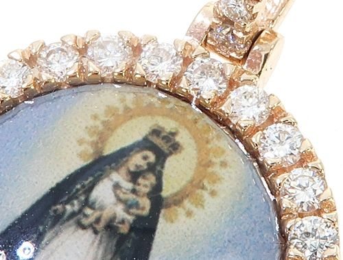 14k Yellow Gold Virgin Mary Diamond Pendant 65027 Stone