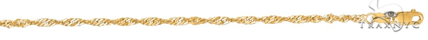 14kt 7 Inches Yellow Gold 2.1mm Diamond Cut Singapore Chain Gold
