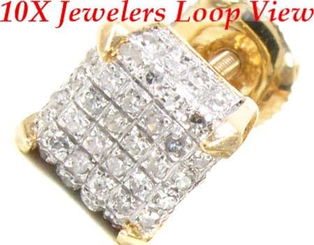 14K Gold Cube Earrings Stone