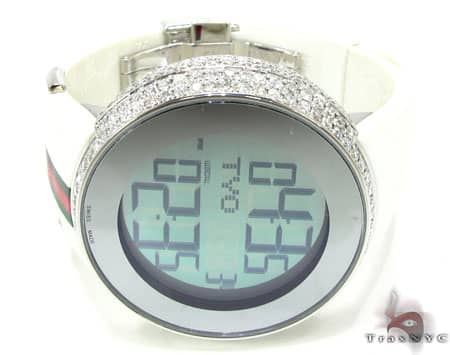 Fully Iced Digital White Super Gucci Watch
