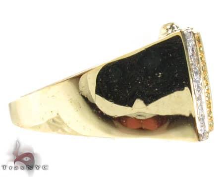 YG Canary and Blue Quadrant Ring Stone