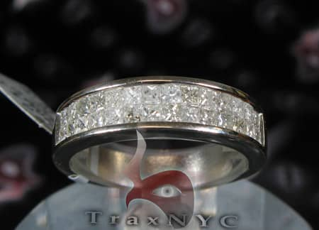 Guys White Gold Two Row  Princess Cut Wedding Ring Stone