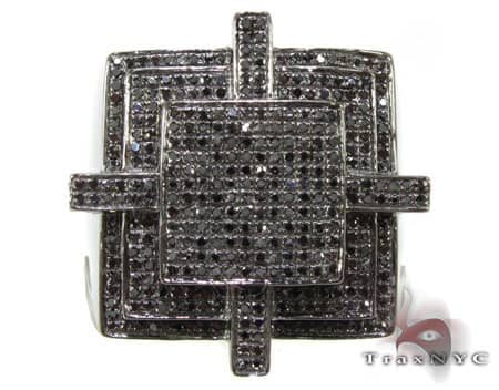 All Black Cross Ring Stone