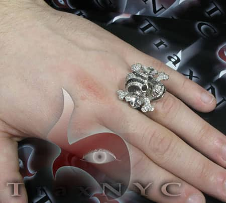Black & White Diamond Skull Head Ring Stone
