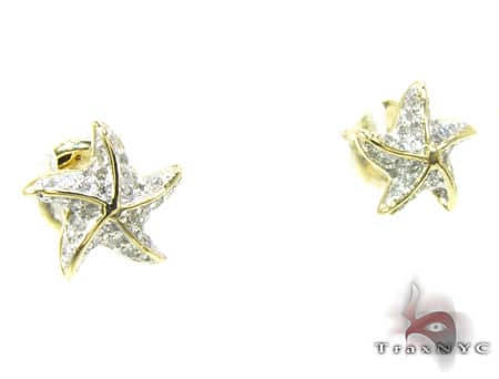 YG Starfish Earrings Stone