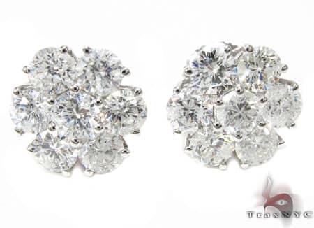 White Gold Cluster Diamond Earrings 2 16804 Stone