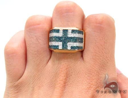 YG Blue & White Pave Ring Stone