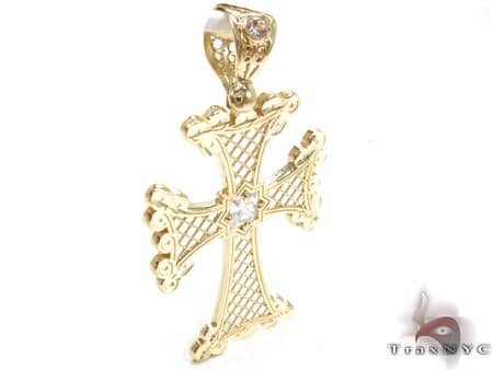 Wide Angle Gold Cross Crucifix Gold