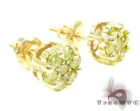 Canary Cluster Earrings Stone