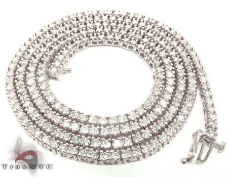 White Gold Diamond Chain 30 Inches, 3mm, 45 Grams Diamond