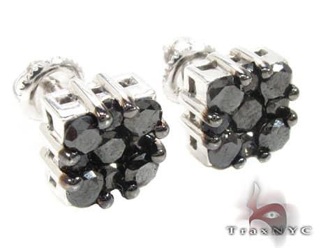 Black Berry Cluster Earrings 3 Stone