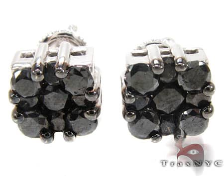 Black Berry Cluster Earrings 3 Stone
