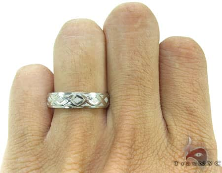 White Gold Criss Cross Crucifix Ring Style