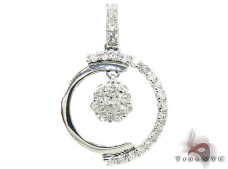 White Gold New Moon Pendant Stone