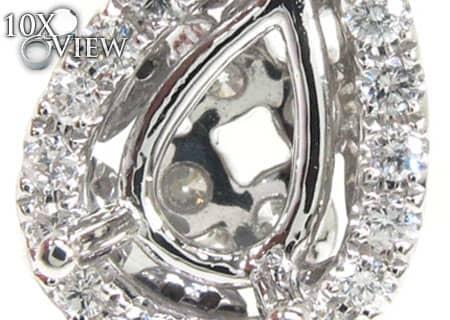 Diamond Teardrop Semi Mount Pendant 2 Stone
